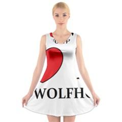 Irish Wolfhound Love V Neck Sleeveless Skater Dress