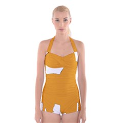 Chow Chow Silo Color Boyleg Halter Swimsuit
