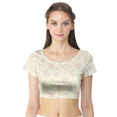 Floral Paper Pink Girly Pattern Short Sleeve Crop Top (tight Fit)