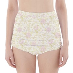 Floral Paper Pink Girly Pattern High Waisted Bikini Bottoms