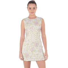 Floral Paper Pink Girly Pattern Lace Up Front Bodycon Dress