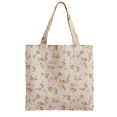 Floral Paper Pink Girly Cute Pattern  Zipper Grocery Tote Bag