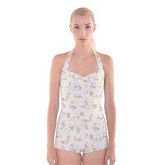 Floral Paper Pink Girly Cute Pattern  Boyleg Halter Swimsuit