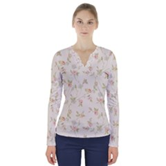 Floral Paper Pink Girly Cute Pattern  V Neck Long Sleeve Top