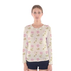 Floral Paper Illustration Girly Pink Pattern Women s Long Sleeve Tee
