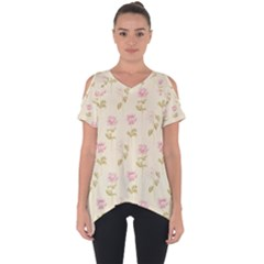 Floral Paper Illustration Girly Pink Pattern Cut Out Side Drop Tee