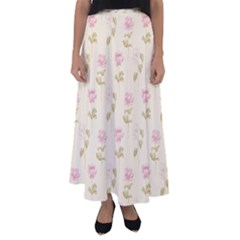 Floral Paper Illustration Girly Pink Pattern Flared Maxi Skirt
