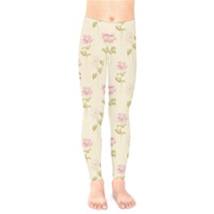 Floral Paper Illustration Girly Pink Pattern Kids  Legging