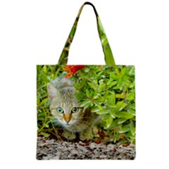 Hidden Domestic Cat With Alert Expression Grocery Tote Bag