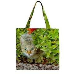 Hidden Domestic Cat With Alert Expression Zipper Grocery Tote Bag