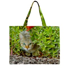 Hidden Domestic Cat With Alert Expression Zipper Mini Tote Bag