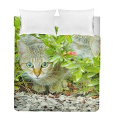 Hidden Domestic Cat With Alert Expression Duvet Cover Double Side (full/ Double Size)