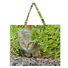 Hidden Domestic Cat With Alert Expression Zipper Large Tote Bag