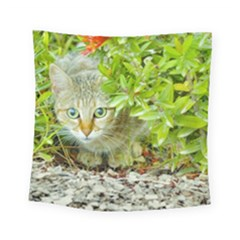 Hidden Domestic Cat With Alert Expression Square Tapestry (small)