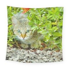 Hidden Domestic Cat With Alert Expression Square Tapestry (large)