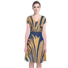 Paint Stains Lines Bright 74778 3840x2400 Short Sleeve Front Wrap Dress