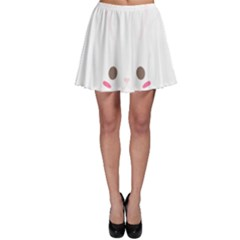 Rabbit Cute Animal White Skater Skirt