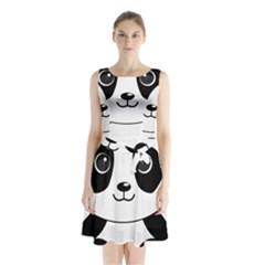 Bear Panda Bear Panda Animals Sleeveless Waist Tie Chiffon Dress