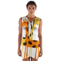 Giraffe Africa Safari Wildlife Wrap Front Bodycon Dress