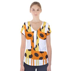 Giraffe Africa Safari Wildlife Short Sleeve Front Detail Top