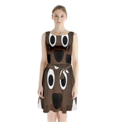 Dog Pup Animal Canine Brown Pet Sleeveless Waist Tie Chiffon Dress