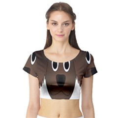 Dog Pup Animal Canine Brown Pet Short Sleeve Crop Top (tight Fit)