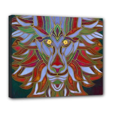 Surreal Lion Face Painting Deluxe Canvas 24  X 20