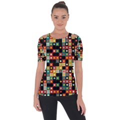 Colors On Black Short Sleeve Top