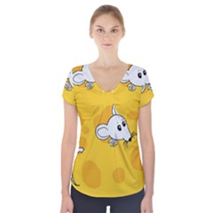 Rat Mouse Cheese Animal Mammal Short Sleeve Front Detail Top
