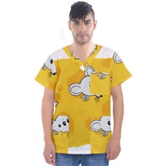 Rat Mouse Cheese Animal Mammal Men s V Neck Scrub Top