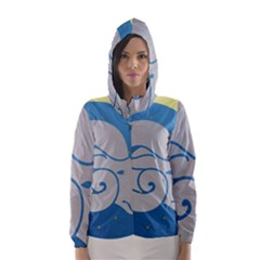 Ram Zodiac Sign Zodiac Moon Star Hooded Wind Breaker (women)