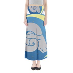 Ram Zodiac Sign Zodiac Moon Star Full Length Maxi Skirt