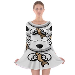 Bear Polar Bear Arctic Fish Mammal Long Sleeve Skater Dress