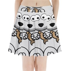 Bear Polar Bear Arctic Fish Mammal Pleated Mini Skirt