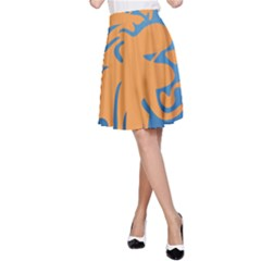 Lion Zodiac Sign Zodiac Moon Star A Line Skirt