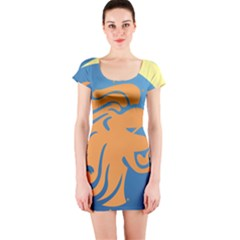 Lion Zodiac Sign Zodiac Moon Star Short Sleeve Bodycon Dress