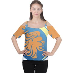 Lion Zodiac Sign Zodiac Moon Star Cutout Shoulder Tee