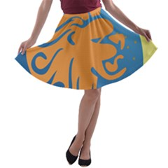Lion Zodiac Sign Zodiac Moon Star A Line Skater Skirt