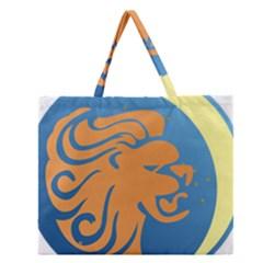 Lion Zodiac Sign Zodiac Moon Star Zipper Large Tote Bag