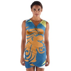 Lion Zodiac Sign Zodiac Moon Star Wrap Front Bodycon Dress
