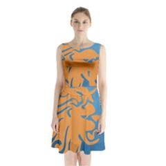 Lion Zodiac Sign Zodiac Moon Star Sleeveless Waist Tie Chiffon Dress