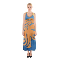 Lion Zodiac Sign Zodiac Moon Star Sleeveless Maxi Dress