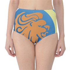 Lion Zodiac Sign Zodiac Moon Star High Waist Bikini Bottoms