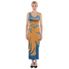 Lion Zodiac Sign Zodiac Moon Star Fitted Maxi Dress