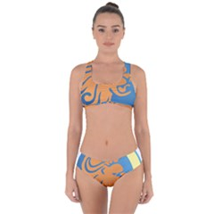 Lion Zodiac Sign Zodiac Moon Star Criss Cross Bikini Set
