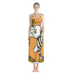 Zebra Animal Alphabet Z Wild Button Up Chiffon Maxi Dress
