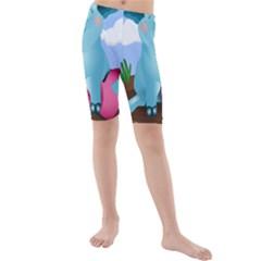 Pig Animal Love Kids  Mid Length Swim Shorts