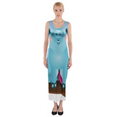 Pig Animal Love Fitted Maxi Dress