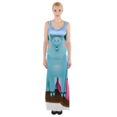 Pig Animal Love Maxi Thigh Split Dress