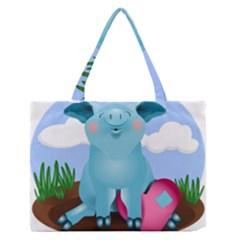 Pig Animal Love Zipper Medium Tote Bag